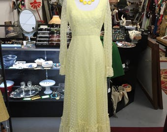 Lovely Vintage 1970s Yellow Maxi Dress with White Velvet Polka Dots