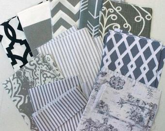 Gray Fabric Scraps Pack, Chevron Zig Zag, Cabana Stripes, Ticking, Toile, Barcelona, Sheffield, Home Decor Premier Prints REMNANT CUTS