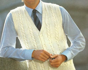 Mens knit Cabled Waistcoat Pdf /OhhhMama/ vest with buttoned front sleeveless jumper tunic vintage pattern instant download pdf