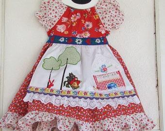 Little Red Riding Hood Applique Dress Peasant Apron Dress