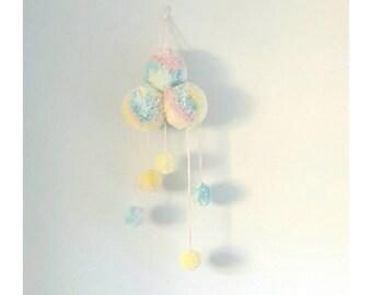 Pompom mobile, wall hanging, nursery decor, pompom rain, nursery mobile, pom pom mobile, pom mobile, rainbow mobile, rain mobile