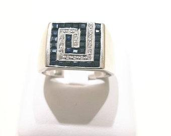 Meander design,Long Life,Silver ring,cubic zirconium,Natural Sapphire