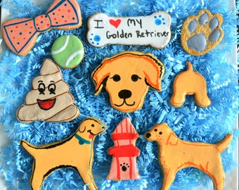 I Love My Golden Retriever Cookie Box /Healthy Dog Treats /Golden Retriever Gift /Dog Birthday /Dog Bakery /Organic Dog Treats /Dog Biscuits
