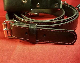 Better than Boston Handmade Leather Firefighter/EMS Radio Strap with Anti-Sway Strap (In Stock)
