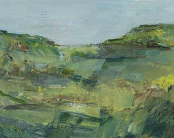 Panorama impressionist, oil painting, mountain landscape.