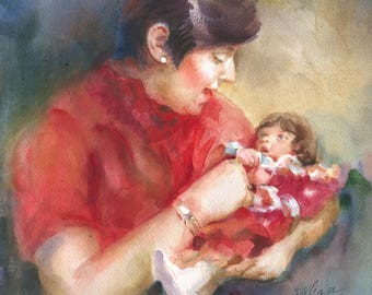 Custom watercolor portrait from photo, Mom and daughter's portrait, portrait painting