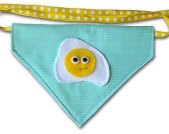 EGGstastic - Sunny Side Up Egg FUNdana - Pet Bandana - Mint- Ready To Ship Today
