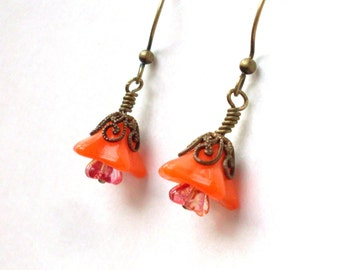 Orange flower bead earrings, Czech glass and antiqued brass earrings, orange earrings,  flower bead jewelry