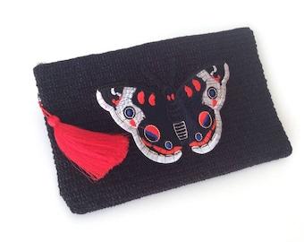 Black Crocheted Boho Clutch ,Butterfly Zip Pouch, Bag Organizer, Handmade