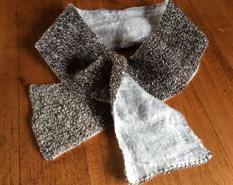 Handspun and knitted scarf with felted marino .