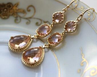 Champagne Blush Earrings Gold Three Tier Peach Blush Bridesmaid Earrings - Peach Wedding Jewelry Champagne Bridal Earrings - Christmas Gift