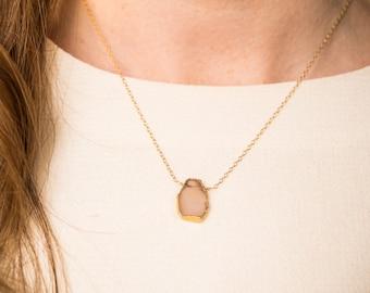 Rose Quartz Druzy Delicate Gold-Rimmed Gemstone Necklace