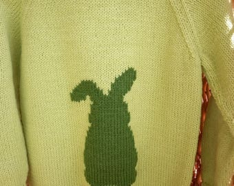 This is a lime green sweater with a bunny embroidered on the front and fits a 24 inch chest or a 3-4 year old.
