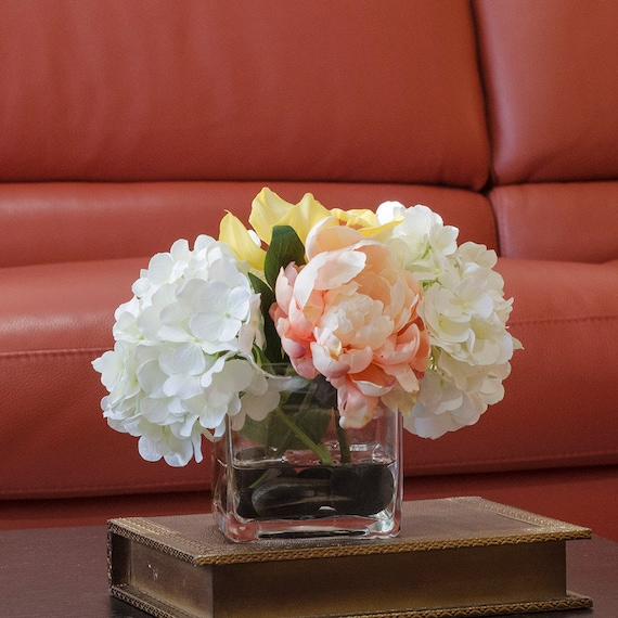 Hydrangea orchid silk peonies arrangement in white peach with