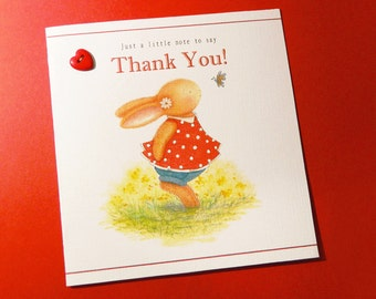 Personalised Thank You Card – Butterfly Dreams Bella - Bobby Bunny & Friends Illustrated Luxury Card Range by Jennifer Keelan