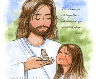 Jesus and the sparrow and little girl - Available with or without Scripture - Christian Children's Art Print