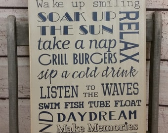 Lake Rules Sign primitive Typography Word Art  12x24