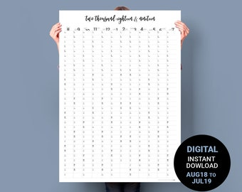 Wall Calendar 2018 / 2019 AUG to JULY. PRINTABLE Academic Calendar. Student planner poster. Minimalist School Year Business Planner A1 plan