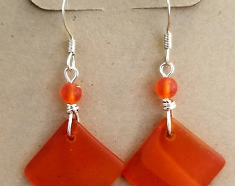 Tangerine Beach Glass Earrings