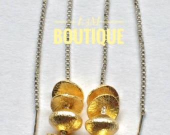 Dual Tone Threader Earrings