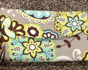 teal, lime green, brown and grey or gray floral wallet, change purse, coin purse, small purse, money holder