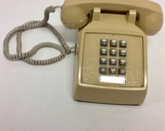 70s Vintage Tan Pushbutton Landline Telephone Phone