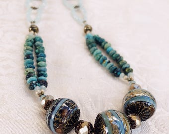 Handworked Beaded Necklace Featuring Handmade Lampwork Bead combined with Turquoise Glass Beads and Glass Bead Chain Toggle Closure