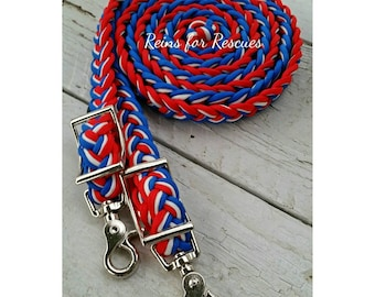 Patriotic Red, White & Blue Adjustable Riding Reins