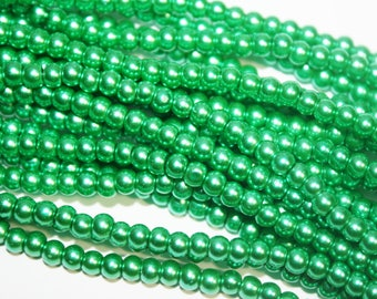 Kelly Green Glass Pearl Beads 1 Strand - 3mm