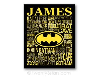 Batman Typography Poster, Batman Fan Gift ,Batman Art, Batman Canvas, Batman Room Art, Superhero Wall Art, Batman Nursery Art, Batman Gift
