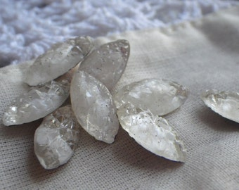 Vintage White Givre Sugar Stone Foiled Doublets 15x7mm Navettes 8 Pcs
