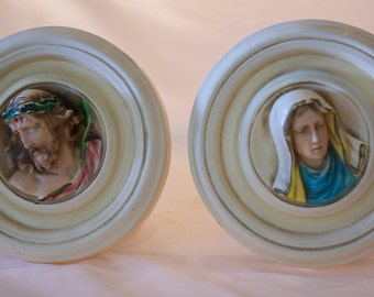 Vintage 5 inch Religious Jesus and Mary Chalkware Plaster Wall Plaques