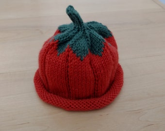 Knitted Pumpkin Hat    3 to 6 month size  Perfect Baby Shower Gift     Free Shipping