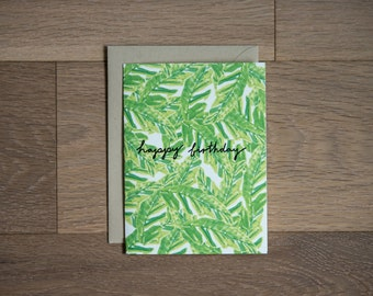 Birthday card - summer birthday - palm leaves - jungle