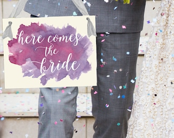 Here Comes The Bride Wedding Sign Watercolor Paint Effect in Purple | Flower Girl Ring Bearer Banner Paper Handmade in USA | 1460 MX
