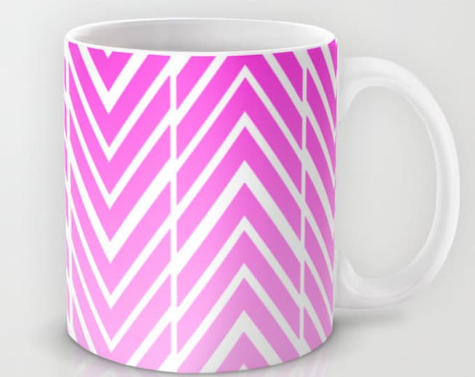 Pink Coffee Mug - Pink and White Arrow Art Mug - 11 oz Mug - 15 oz Mug - Original Art - Ceramic Coffee Cup - Made to Order