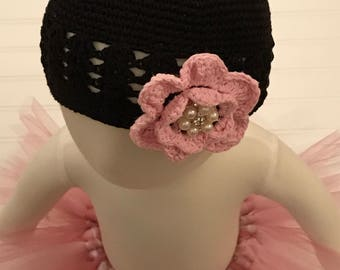 Black Crochet Hat with Pink Flower- Baby