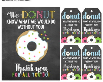 8x10 Donut Thank You Art and Tags digital- you print your own- INSTANT DOWNLOAD