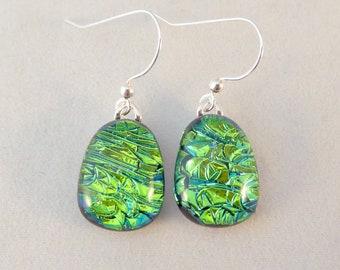 Green Dichroic Fused Glass Dangle Earrings, Teardrop, Fused Glass Earrings, Glass Earrings, Dichroic Earrings, Dangle Earrings, Green