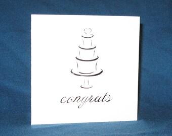 Wedding Cake Card, Wedding Congrats, Hand Cut Card