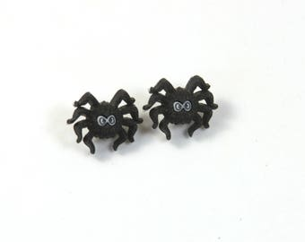 Spider web earrings, Bug earrings, Black spider earrings, Spider and web earrings, Halloween earrings, Cute spider earrings, small spider