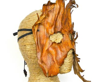 Leather Tree Mask, Tree Costume, Ent Forest Spirit Costume Piece, Handcrafted Dryad Woodland Halfmask