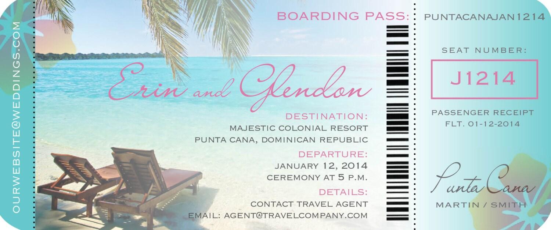 Boarding Pass Ticket Invitation for Destination Wedding //