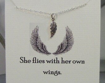 She Flies With Her Own Wings,Jewelry,Poem,Quote,Friend,Friendship Necklace,Friends,Necklace,Charm,Angel,Angel Wing,Angel Wing Necklace,Angel