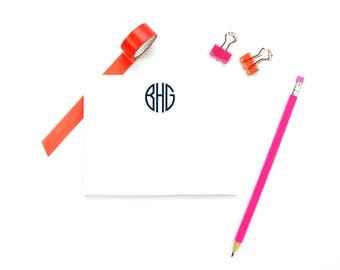 Monogram Stationary Notecards, Personalized FLAT Note Cards, Monogram Note Cards and Envelopes, Personalized Stationary Monogram, SET of 10