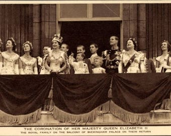 c.1953 The Royal Family on the Balcony of Buckingham Palace on their return after the Coronation; Photochrom; MINT Condition.