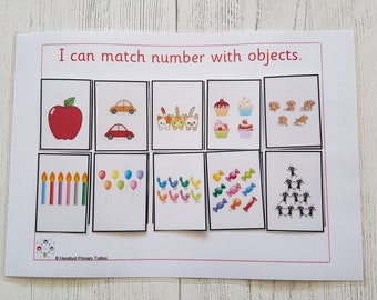 Number matching game, maths game, teaching resources, home schooling, learning resources, EYFS, Reception maths, 0-10 number game,