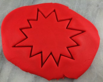 Comic Starburst Cookie Cutter Outline #4 - SHARP EDGES - FAST Shipping - Choose Your Own Size!