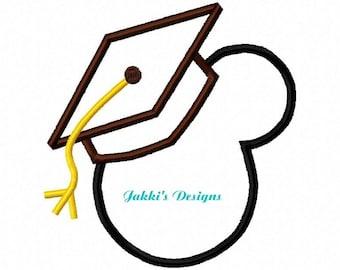 Instant Download Graduate Mouse Ears Embroidery Machine Applique Design-507