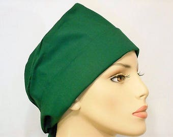 Scrub Hat Medical Style Pixie Tie Back- Solid Green St Patricks Day Scrub Cap